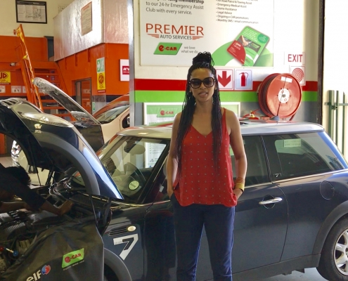 Vanessa Marawa from Vuma FM Radio having her car serviced at Premier auto Services e-CAR